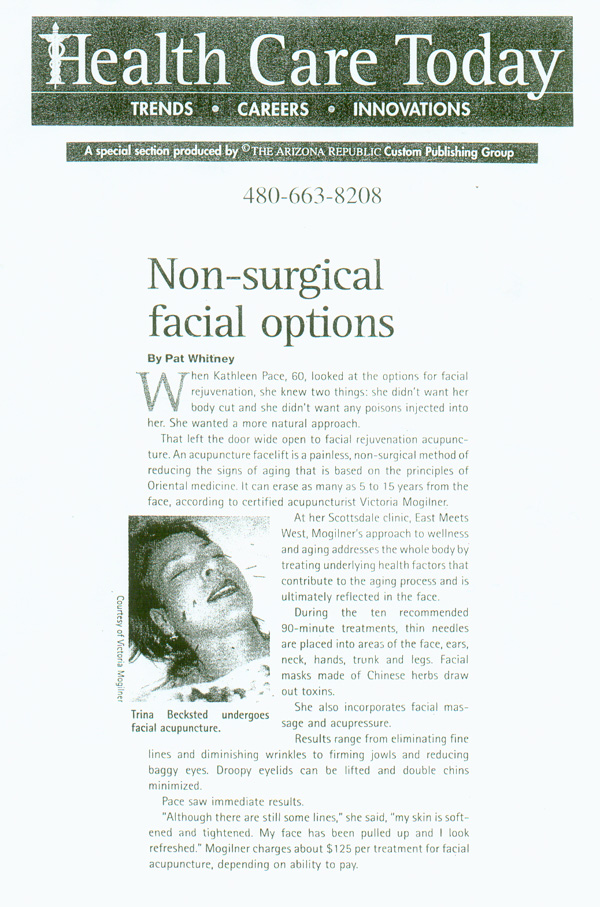 scan of feature article on facial acupuncture